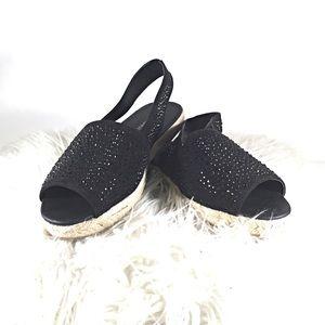 Lane Bryant Black Sandals Espadrille Open Toe 8